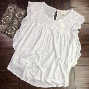 NWT (Flawed) Anthro Deletta Ina Flutter Linen Top